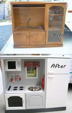 Upcycle an old entertainment center into a kid's dream play kitchen.