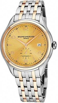 9c3c6788d74 Baume   Mercier Clifton Mens Two Tone Automatic Watch – Analog Yellow Gold  Face Swiss Luxury Dress Watch For Men 10352 – Houffpauir Swiss Watches