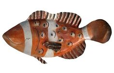 "$ 95.00-Clown Fish Art aka ""Nemo"" Iron Fish Sculpture-Coastal Decor 16 X 18"