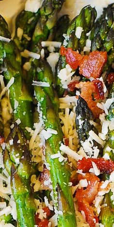 Asiago Cheese, Bacon, and Garlic Roasted Asparagus - a delicious way to cook asparagus: crispy and crunchy. Healthy, gluten free recipe.