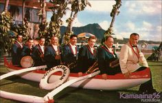 Royal Hawaiian Orchestra c1956 - Pierson Thal (1911-1985) in the white jacket on the right was the director of the Royal Hawaiian Hotel Orchestra from 1956 to 1961. Looks like the band included a string bass, drums, cornet, trumpet, and three saxophones. Sure wish I had seen these guys. From an old Ki'i Hawaii postcard.