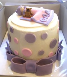 Pink and Purple Baby Shower Cake - I'd change the topper ----> maybe a polka dot themed shower