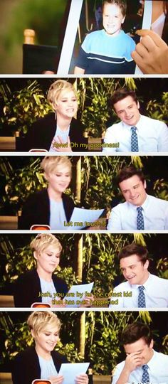 Jennifer Lawrence and Josh Hutcherson Katniss Everdeen, Josh Hutcherson, Interview, Juegos Del Ambre, Hunger Games Cast, Funny Love, Mom Funny, Funny Friends, Catching Fire