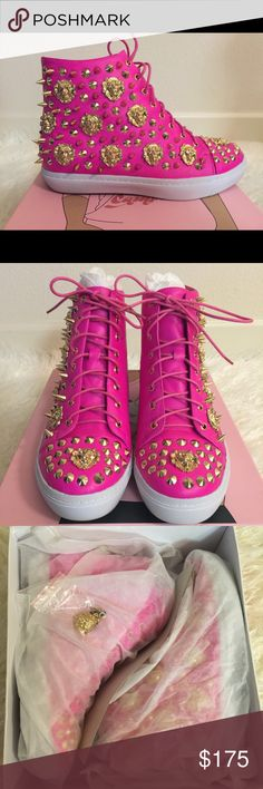 Jeffrey Campbell Sneakers Brand New!!! Beautiful hot pink with gold lion and spike studs. Absolutely love them but they are too small for me. Size 10. Comes with box, dust bags, and extra spikes. No trades. Best offer. Jeffrey Campbell Shoes Sneakers