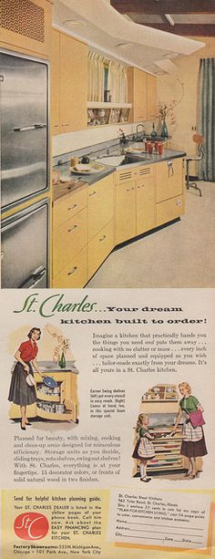 St Charles steel kitchen ad, 1956 I love the boomerang shape of the soffit.