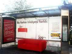 Real sofa at Istambul bus stop (Ikea ad). Bus Stop Advertising, Guerrilla Advertising, Creative Advertising, Marketing And Advertising, Street Marketing, Viral Marketing, Corporate Design, Guerilla Marketing Examples, Ikea Ad
