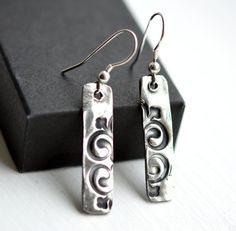 Rustic Silver Dangly Earrings. Made in Ireland, €27