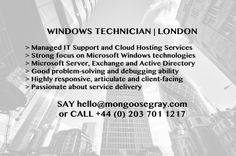 #Windows #IT #Support #Helpdesk #ManagedIT #CloudHosting #ActiveDirectory #MicrosoftExchange #MGTJOBS #JOBS