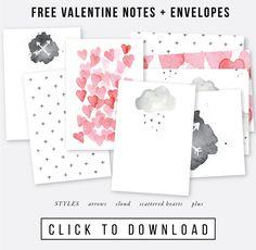 Free set of Valentine Notes + Envelopes  Full tutorial at jonesdesigncompany.com