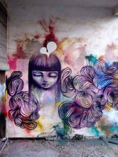 Multi coloured wall mural by Rosh