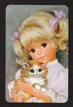 Vintage JOY Swap Card - Pretty Girl with Kitten (BLANK BACK)