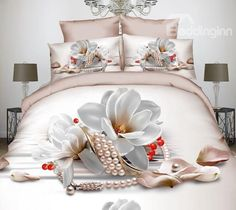 Noble #Magnolia and Pearl Print 4-Piece Polyester #3D Duvet Cover #newin #bedding #bedroom