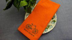 Hand Screen Printed Cloth Napkins - FREE SHIPPING and FREE Mini Gift Wrap Kit - Set of 6 - 100% Cotton - Dark Orange with Teal Bike