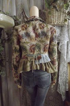 Lagenlook Tapestry Jacket Ruffled with by bluemermaiddesigns