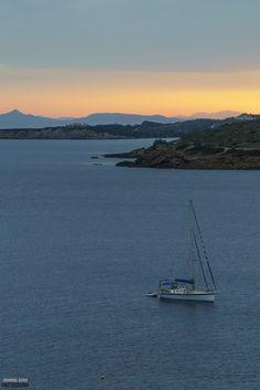 Sailing boat - Sailing boat at Sounio Sailing Boat, Beautiful Sunset, Sunsets, Island, Mountains, Country, Nature, Travel, Greece