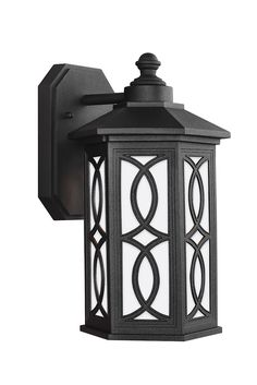 Ormsby Small LED Outdoor Wall Lantern by Sea Gull Lighting: Brings modern technology to a traditional style. The sophisticated Black with removeable etched glass panels on this design will be sure to bring a classic touch outdoors. Made from die-cast aluminum, this outdoor fixture is able to withstand extreme weather conditions. Perfect for your front or back porch.