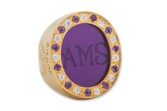 A reverse engraved Synthetic Amethyst Custom Monogram Ring By Regnas (14K Gold)