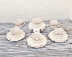 Vintage Espresso Cups and Saucers NOS Set of by AlegriaCollection