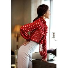 Fashion Turtleneck Long Sleeve Dot Red Shirt_Blouses&Shirts_Tops_Womens Clothing_LovelyWholesale | Wholesale Shoes,Wholesale Clothing, Cheap Clothes,Cheap Shoes Online. - LovelyWholesale.com