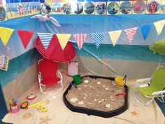 Sand play in the classroom is perfect for children to build up their fine-motor skills by pouring and digging using buckets and shovels. Eyfs Activities, Nursery Activities, Beach Activities, Kids Learning Activities, Holiday Activities, Beach Theme Preschool, Learning Resources, Eyfs Classroom, Classroom Games