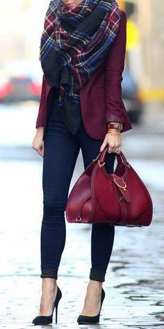 Dark blue skinny jeans burgundy blazer and plaid blanket scarf.