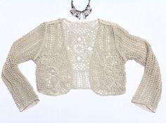 Women Boho 70's Crochet Bolero Vest  offwhite by Craftasy on Etsy, $10.00