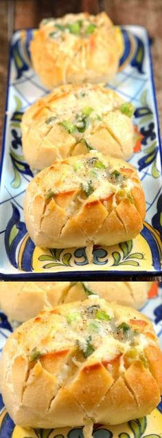 """This Individual Garlic Cheese """"Crack Bread"""" from Savory Experiments is going to become your new favorite side dish! With it's garlic, herbs, and cheesy goodness everyone in your family will look forward to it when you make it for sure."""