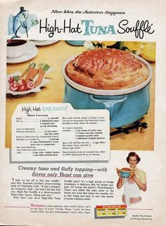 Vintage ad for yeast with recipe for High Hat Tuna Souffle