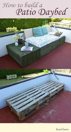 Kaubaalustest istumiskoht. http://www.lovelygreens.com/2013/06/pallet-project-patio-day-bed.html