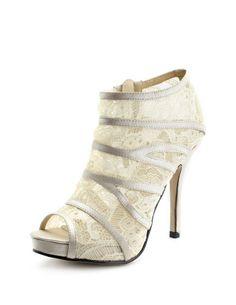 Ivory peep toe lace booties NEED