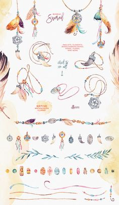 Sacred. Watercolor Tribal Bundle - Illustrations - 5