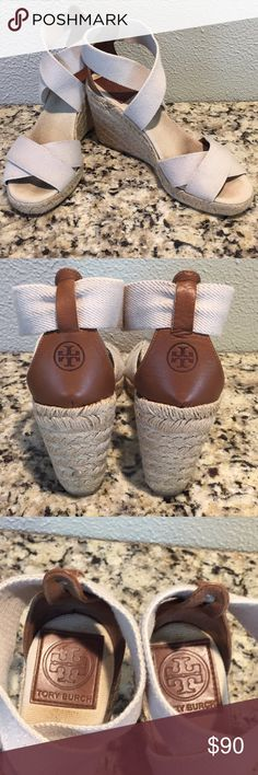 0bd9d1d2516 Tory Burch wedges Perfect shoe for summer! Tory Burch cream and brown  wedges. Has woven wedge heel. Tory Burch Shoes Wedges