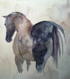 My Mom, the Artist. Equine Abstract. Horse Love. Original+horse+watercolor.+by+TravelinJones+on+Etsy,+$75.00