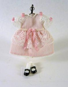 Dollhouse Miniature Artisan Little Girl's Dress, Shoes,Pink Lace
