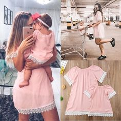 Mother Daughter Dresses Fashion Family Lace Mini Dress Matching Mom Girls Family Clothes Summer Women Baby Mommy And Me Clothes Mommy And Me Dresses, Girls Maxi Dresses, Girls Lace Dress, Mommy And Me Outfits, Mothers Dresses, Baby Girl Dresses, Pink Dresses, Mother Daughter Fashion, Mother Daughter Matching Outfits