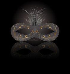masque carnaval: Illustration théâtre ou d'un masque de carnaval avec la réflexion sur fond noir - vecteur Illustration