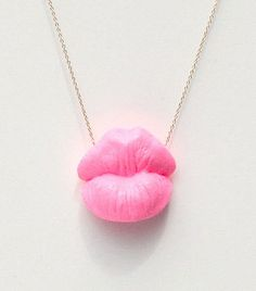 Big Kiss Necklace Pink by Elephant Heart Jewelry
