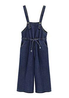 DAILISHA Womens Denim Bib Overall Wide Leg Jeans Jumpsuit (2XL)