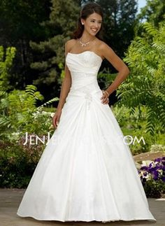 A-Line/Princess Sweetheart Chapel Train Satin Wedding Dresses With Ruffle Beadwork (002011522) JenJenHouse.com. Cute on top, but too poofy