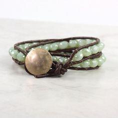 Brown Leather Wrap Bracelet Mint Green Winter Fashion Western Style Double Wrap Celadon Sage Green