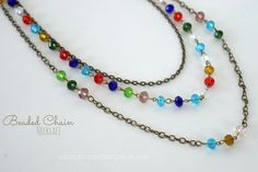 Adventures of a DIY Mom: Easy Beaded Chain Multi-Strand Necklace