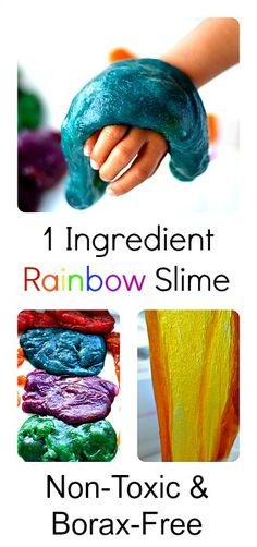 Easy to make 1 ingredient non-toxic, edible, borax-free slime. Great for toddler play!#sensoryactivities
