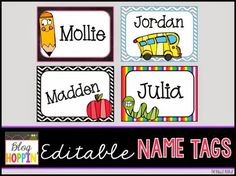 Hey there, Hoppers! This is Alisha from The Bubbly Blonde Teacher with a back to school freebie! Summer is coming to an end. Kindergarten Name Tags, Preschool Name Tags, Preschool Cubbies, Classroom Name Tags, Classroom Labels, Classroom Ideas, Classroom Design, Kids Name Tags, Starting Kindergarten