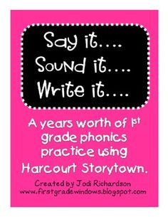 This packet includes 30 weeks worth of phonics practice that correlates with the first grade Harcourt Storytown Reading Series. Includes a page fo...