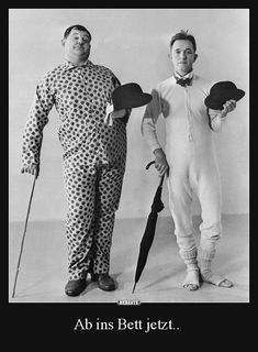 Stan Laurel - wears open-toed socks, long johns and a bow tie, while Oliver Hardy - on his right, has opted for a spotted pyjama outfit. Laurel And Hardy, Stan Laurel Oliver Hardy, Great Comedies, Classic Comedies, Classic Films, Classic Hollywood, Old Hollywood, Bisous Gif, Comedy Duos
