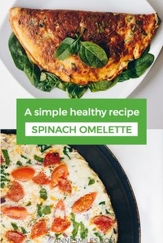 Recipe for a health, yummy spinach omelette easydinner healthyrecipe 589830882432027407 Healthy Recipe Videos, Healthy Dinner Recipes, Healthy Snacks, Healthy Eating, Healthy Breakfasts, Clean Eating, Spinach Omelette, Omelette Recipe, Brunch Recipes