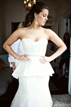 Peplum Wedding Dress, Strapless Wedding Dress