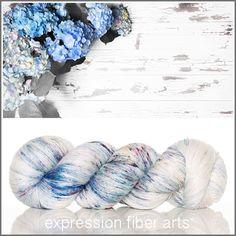 Expression Fiber Arts BLUE HYDRANGEAS SUPERWASH MERINO SILK PEARLESCENT FINGERING YARN