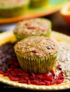 Oatmeal, Citrus, Goji Berry, Cacao Chip, Morning Muffins. Wheat free.
