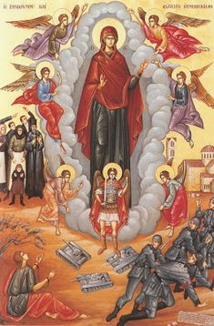 The Most Holy Theotokos appearing at Orchomenos in Greece during WWII and protecting Greek soldiers from Nazi invaders. Religious Icons, Religious Art, Greek Soldier, Church Icon, King In The North, Blessed Mother Mary, Byzantine Icons, Classic Paintings, Catholic Art